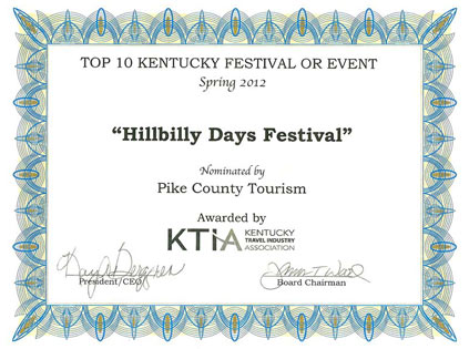 Hillbilly Days Award