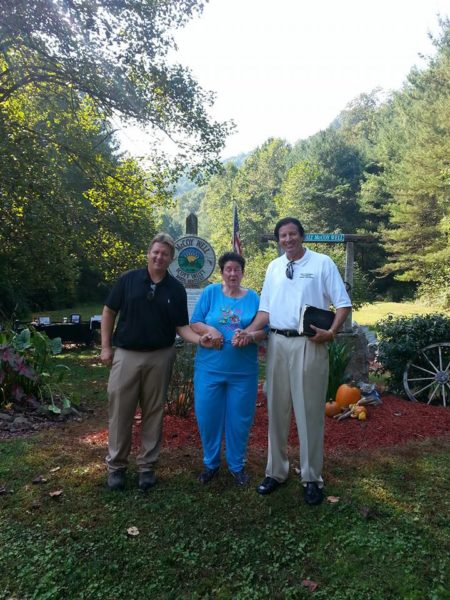 (L-R) McCoy descendants Gary McCoy and Mrs. Hall with William Keith Hatfield
