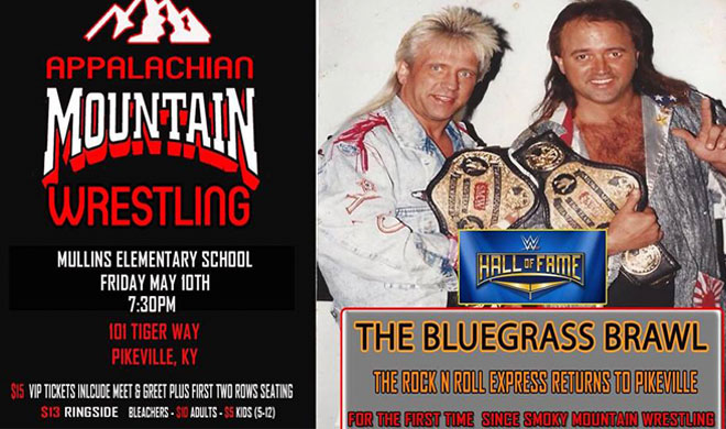Photo of the Rock n Roll Express with Appalachian Mountain Wrestling logo
